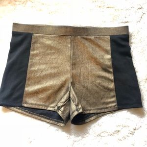 Forever 21 Black and Gold Metallic shorts